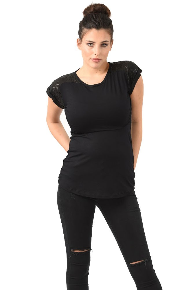 Gladiator Maternity & Nursing T-shirt (Black)
