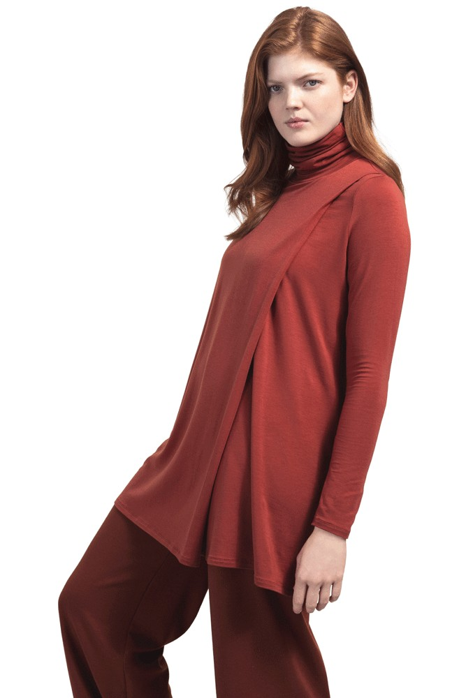 Boob Design Hannah Turtleneck Maternity & Nursing Tunic (Tandori Red)
