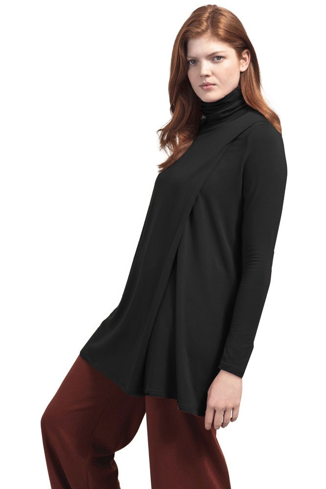 Boob Design Hannah Turtleneck Maternity & Nursing Tunic (Black)