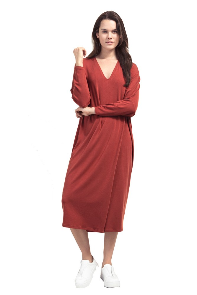 Boob Design Debbie Relaxed Maternity & Nursing Dress (Tandoori Red)