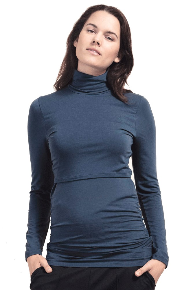 Boob Design Flatter Me Ruched Turtleneck Maternity & Nursing Top (Saragasso)