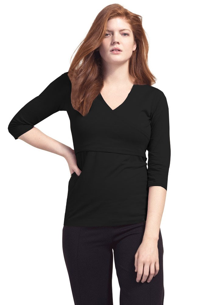 Boob Design Madison Organic Long Sleeve Faux Wrap Nursing Top (Black)