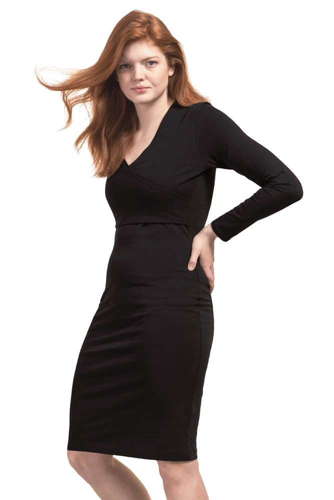 Boob Design Madison Organic Long Sleeve Faux Wrap Nursing Dress (Black)