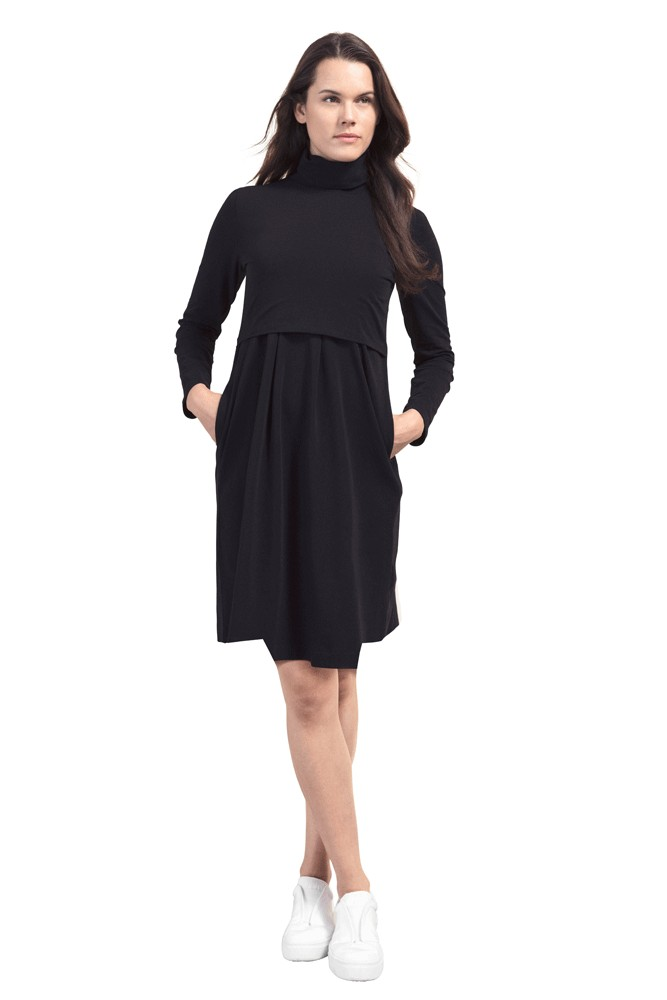Boob Design Mimi Organic Turtleneck Nursing Dress (Black)