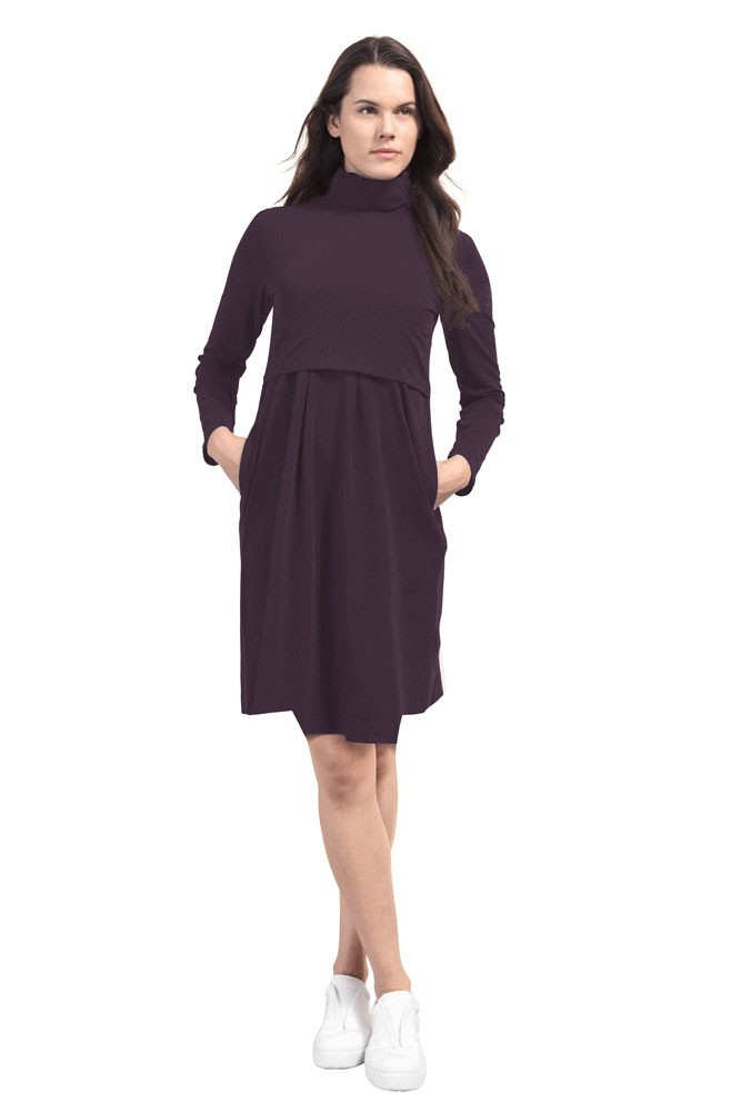 Boob Design Mimi Organic Turtleneck Nursing Dress (Cassis)
