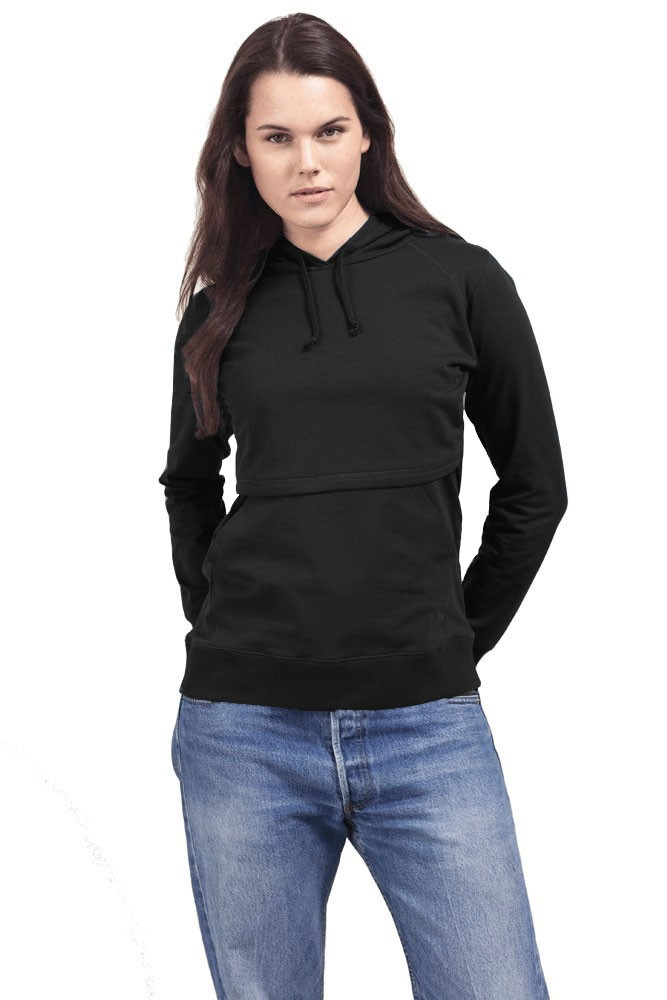 Boob Design B-Warmer Organic Knitted Nursing Hoodie with Kangaroo Pockets (Black)