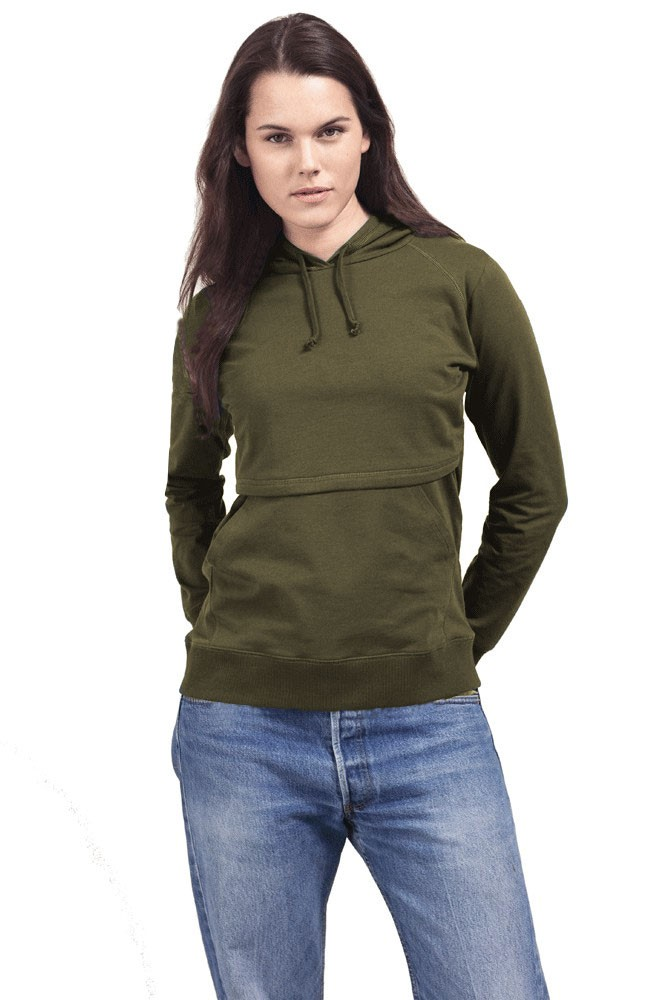Boob Design B-Warmer Organic Knitted Nursing Hoodie with Kangaroo Pockets (Forest Green)