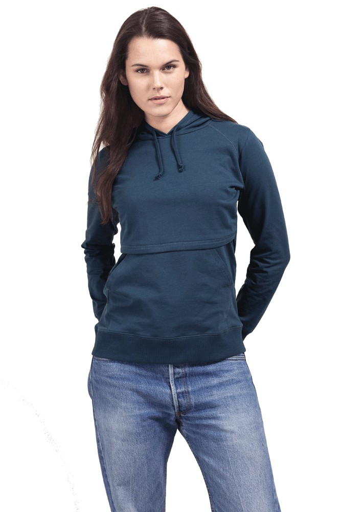 Boob Design B-Warmer Organic Knitted Nursing Hoodie with Kangaroo Pockets (Saragasso)