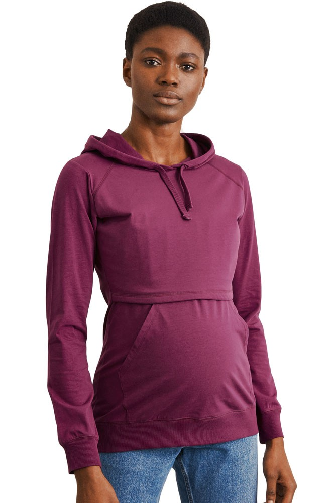 Boob Design B-Warmer Organic Knitted Nursing Hoodie with Kangaroo Pockets (Purple)
