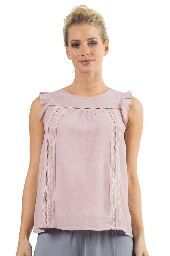 Cariana Ruffle Sleeve Lace Trim Nursing Top (Pink)