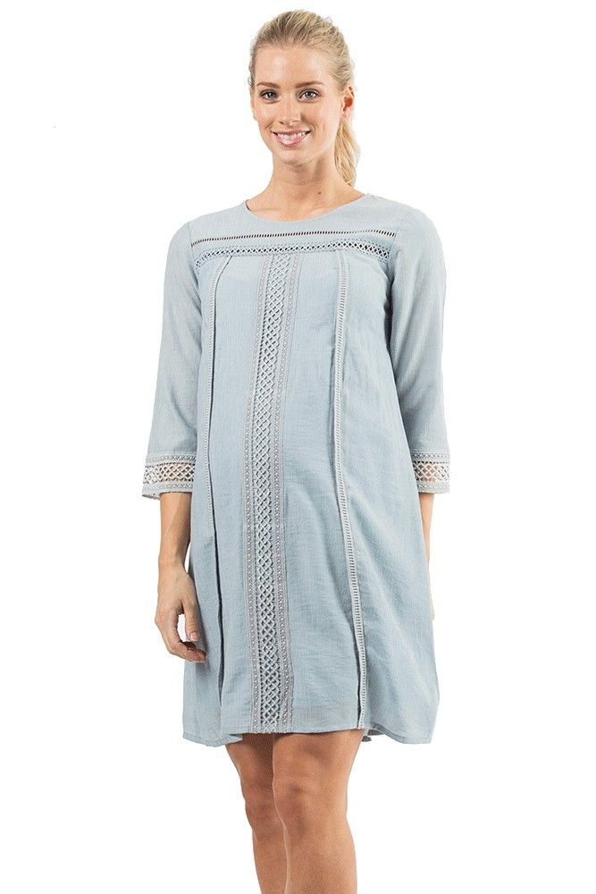 Casandra Crochet Trim Woven Shift Nursing Dress (Grey Blue)