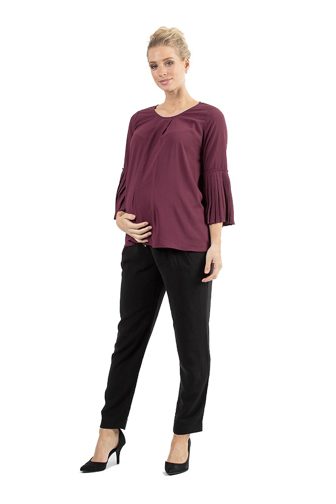 Breena Pleated Bell Sleeve Nursing Top (Maroon)