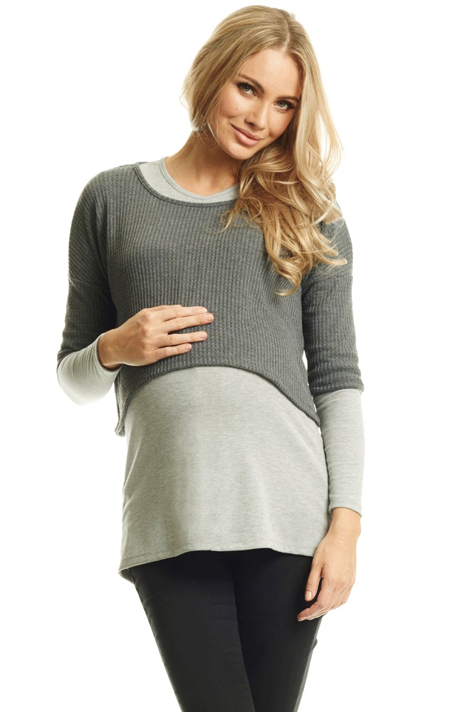 Tina 2-piece Layered Maternity & Nursing Top (Grey)