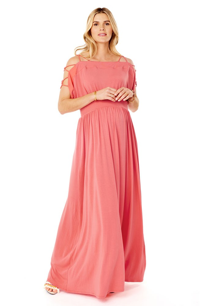 Ingrid & Isabel Smocked Empire Maternity Maxi Dress (Coral)