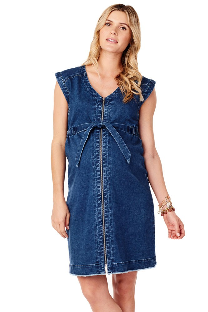 Ingrid & Isabel Zip Front Stretch Denim Maternity & Nursing Dress (Medium Wash)