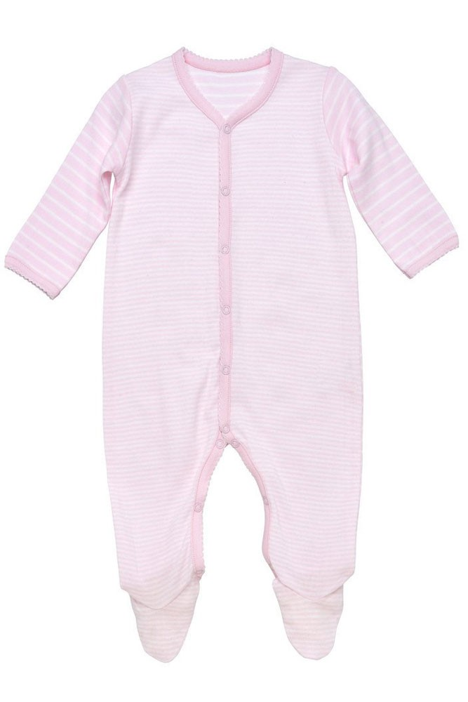 Under the Nile Organic Cotton Side Snap Footie (Pink Stripes)