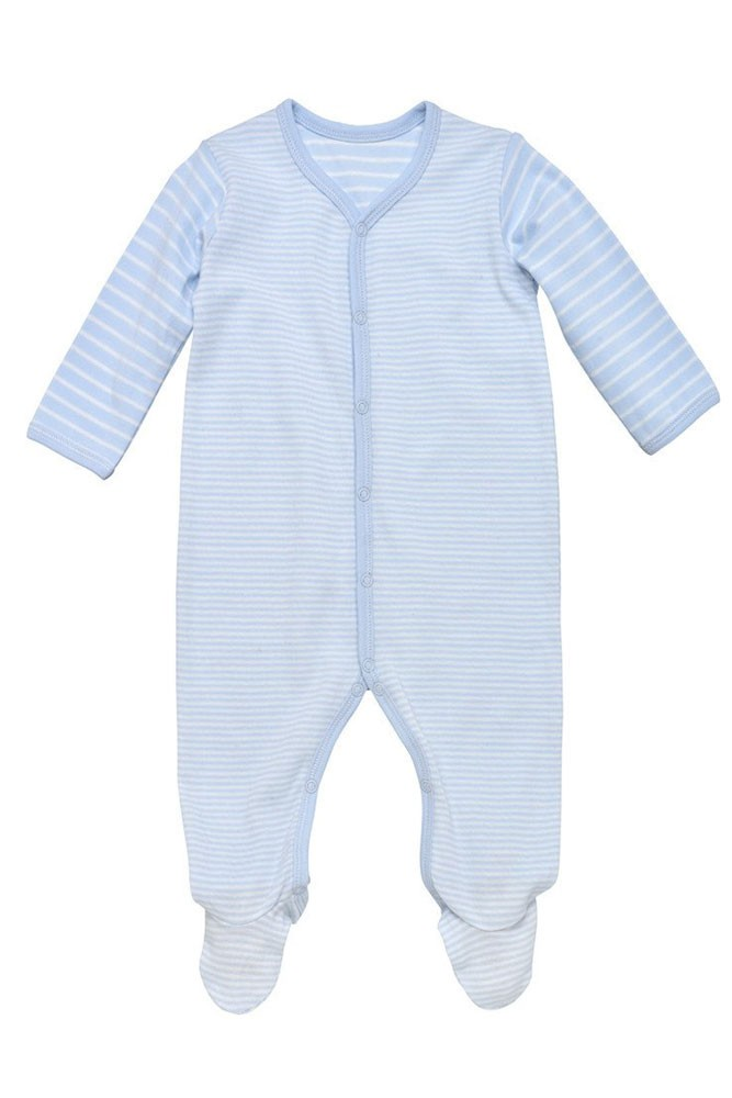 Under the Nile Organic Cotton Side Snap Footie (Blue Stripes)