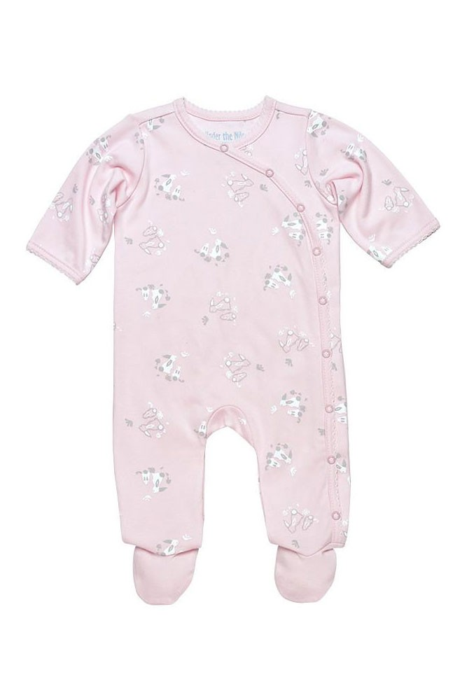 Under the Nile Organic Cotton Printed Side Snap Footie (Bunny Print)