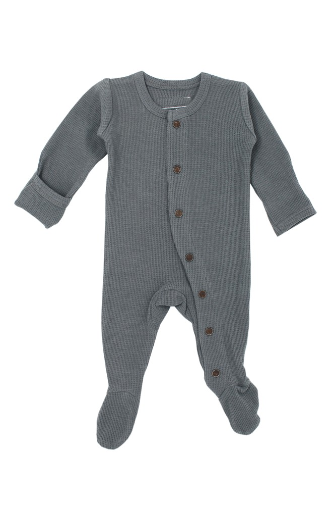 L'ovedBaby Thermal Footed Organic Baby Overall (Graphite)