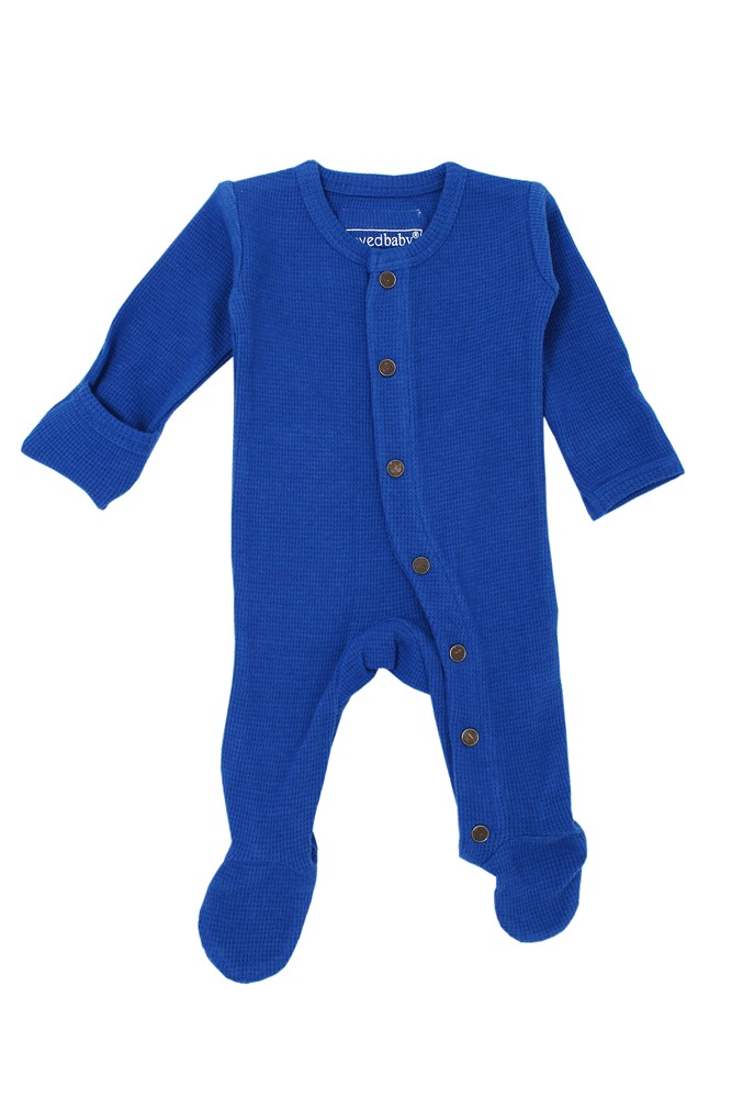 L'ovedBaby Thermal Footed Organic Baby Overall (Sapphire)