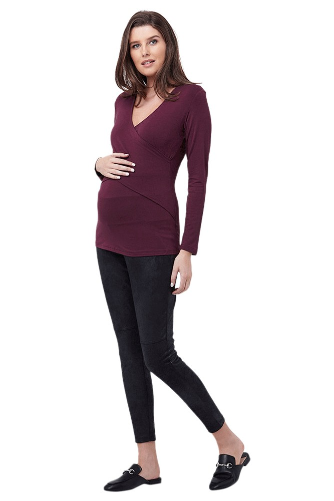 Embrace Long Sleeve Maternity & Nursing Tee (Plum)