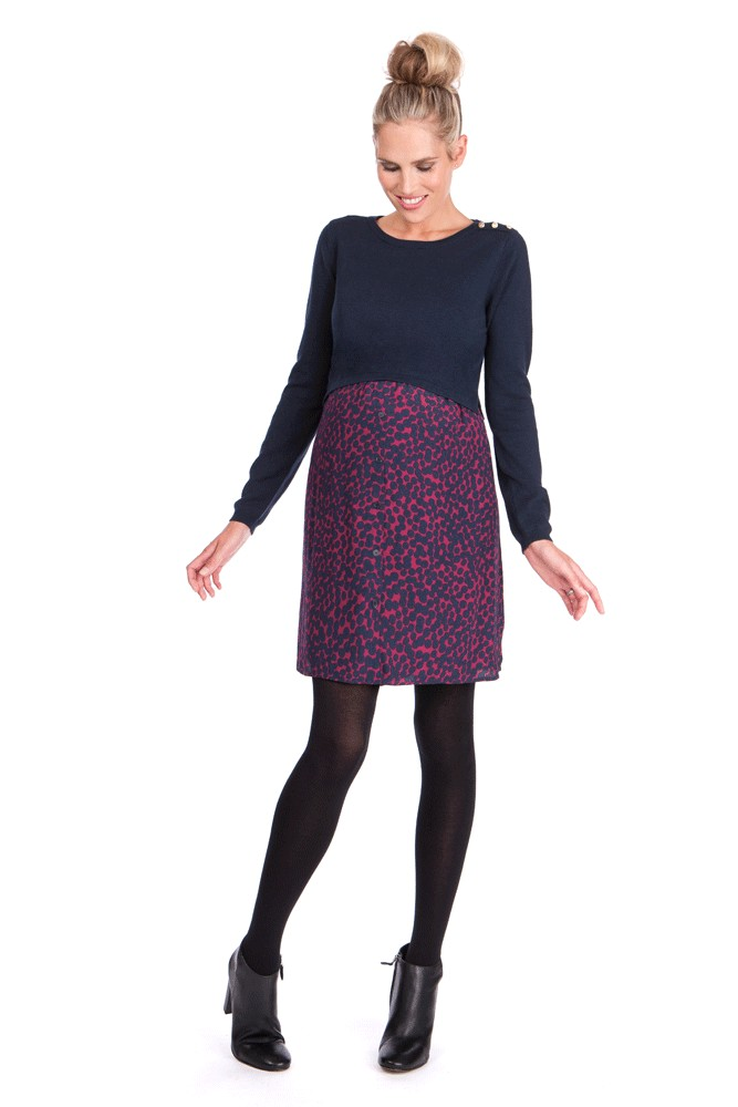 Seraphine Trinity Long Sleeve Sweater/Woven Maternity & Nursing Dress (Navy/Print)