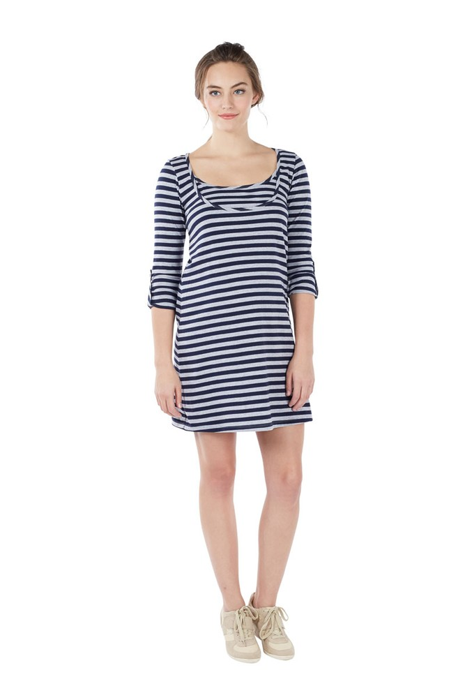 Painter Stripe Nursing Dress (Stripe Navy Grey)
