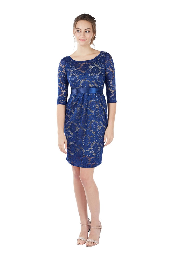 Contessa 3/4 Sleeve Maternity & Nursing Dress (Sapphire Blue)