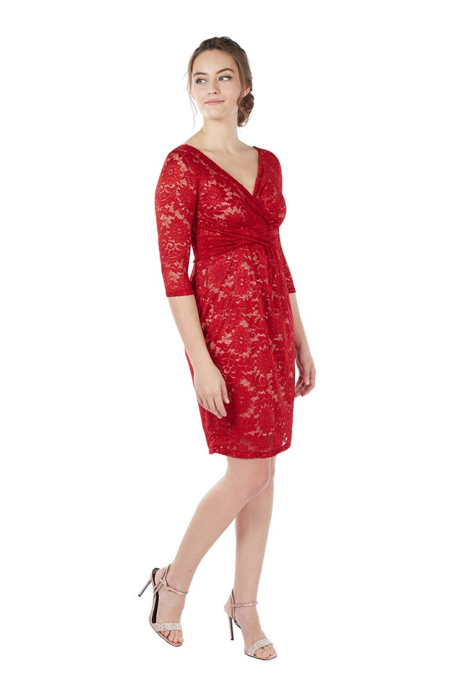 Chantel 3/4 Sleeve Lace Nursing Dress (Simply Red)