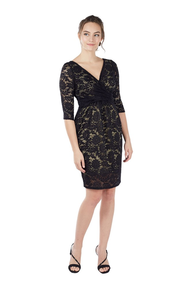 Chantel 3/4 Sleeve Lace Nursing Dress (Black)