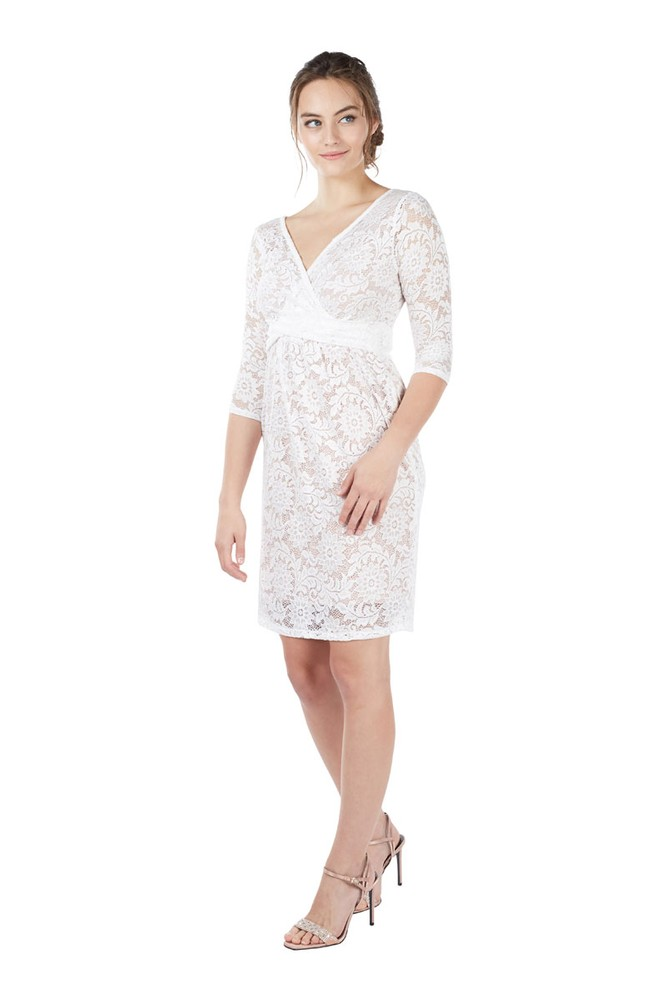 Chantel 3/4 Sleeve Lace Nursing Dress (White)