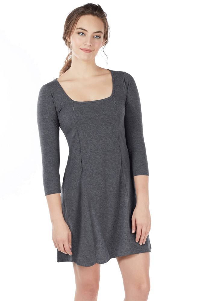Ember Fitted U-Neck Zipper Nursing Dress (Heather Charcoal)
