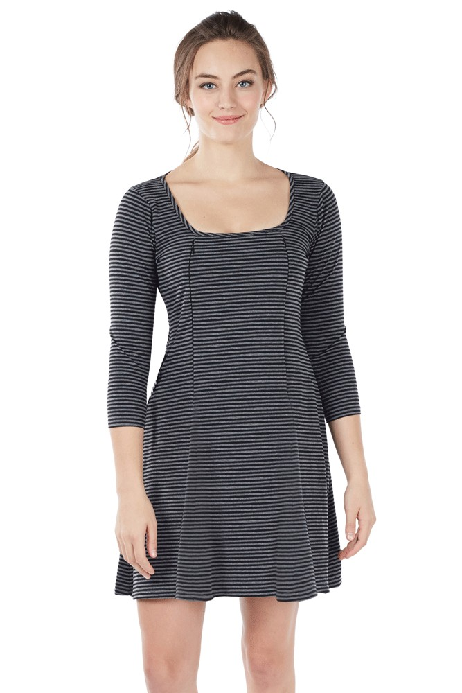 Ember Fitted U-Neck Zipper Nursing Dress (Stripe Black-Grey)