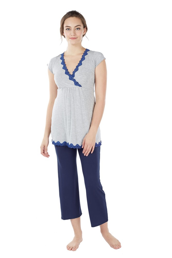 Luxe Comfort Bamboo Lace Trim 2-pc Maternity & Nursing PJ Set (Heather Grey- Navy Blue)