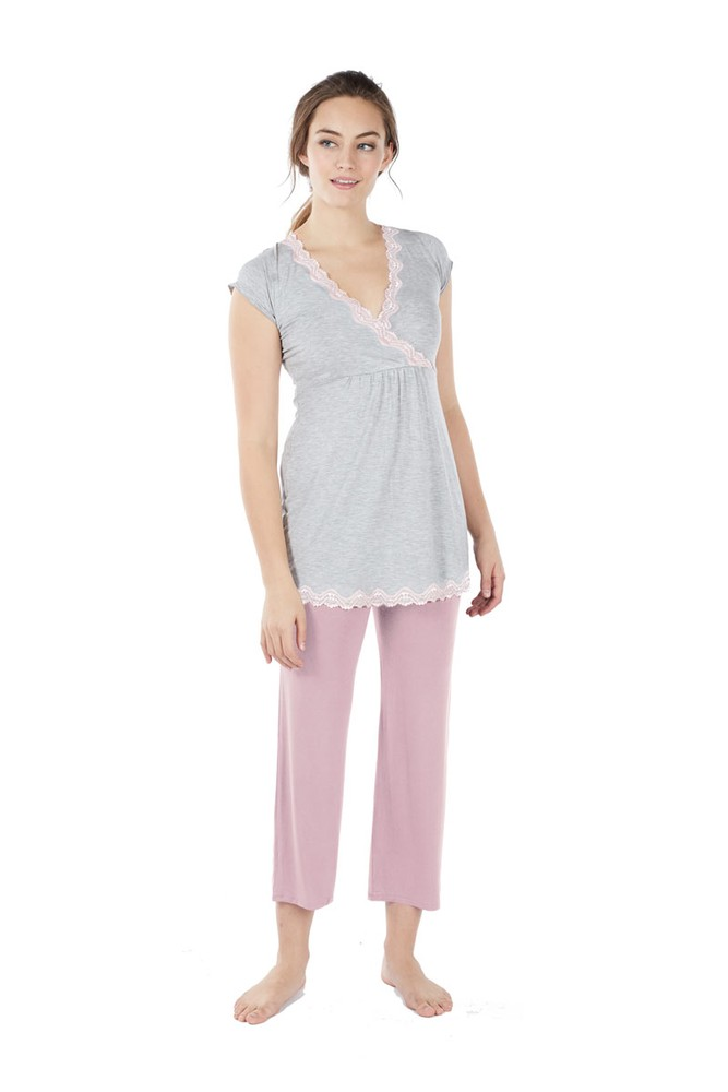 Luxe Comfort Bamboo Lace Trim 2-pc Maternity & Nursing PJ Set (Heather Grey- Pink)