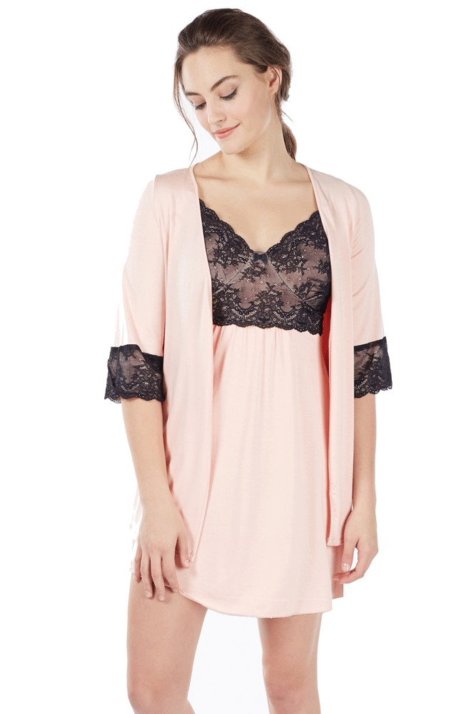 Mi Amor 2-pc. Maternity & Nursing Chemise with Robe (Blush Pink)