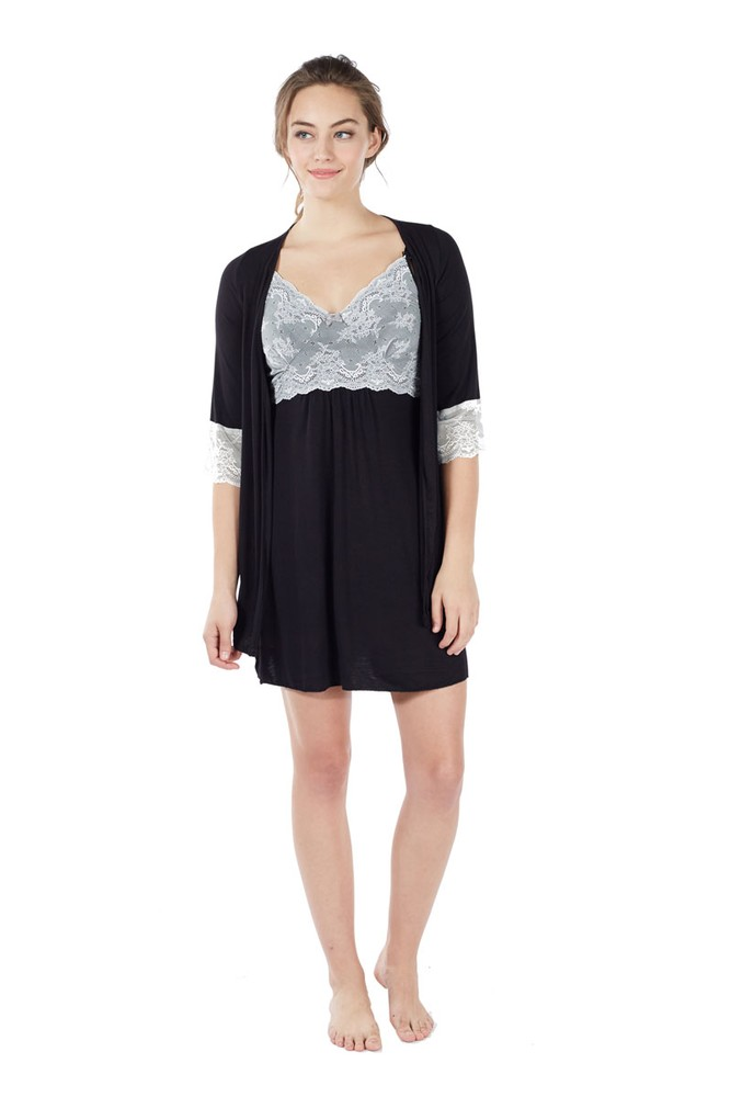 Mi Amor 2-pc. Maternity & Nursing Chemise with Robe (Black)
