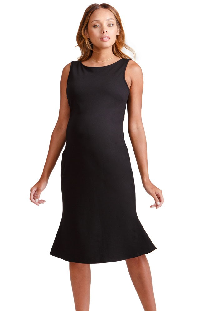 Ingrid & Isabel Tulip Hem Ponte Maternity Dress (Jet Black)