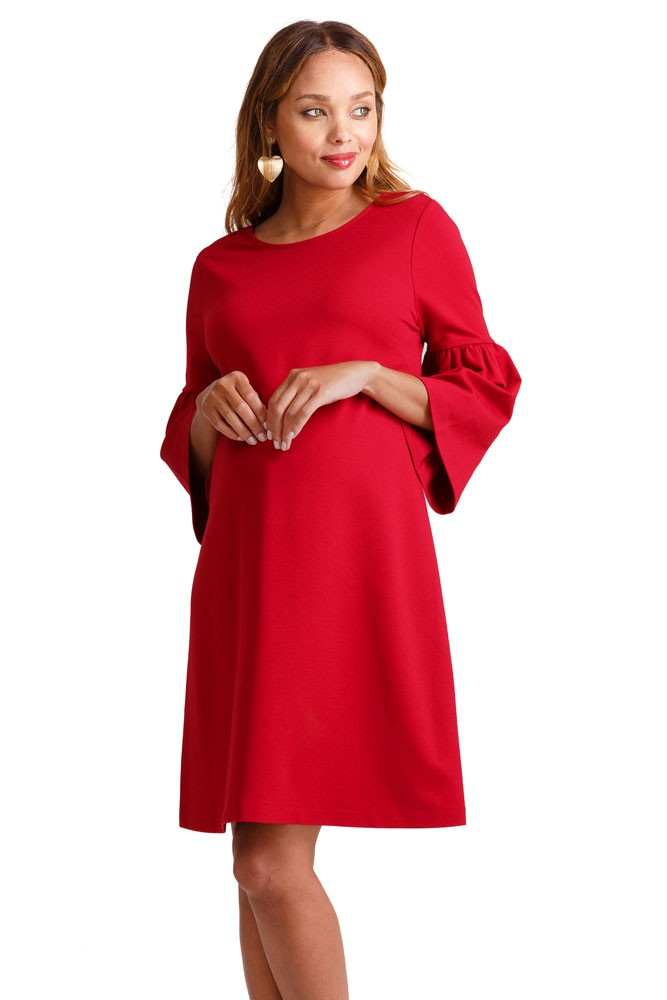 Ingrid & Isabel Ponte Bell Sleeve Maternity Dress (Bright Crimson)