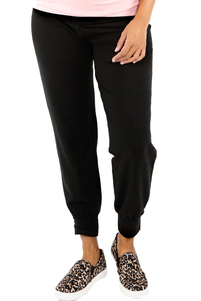 Belabumbum Cozy French Terry Foldover Jogger Pant (Black)