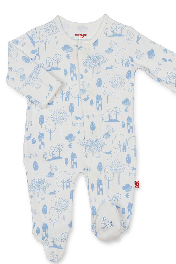 Magnetic Me™ by Magnificent Baby Organic Cotton Footie (Blue Perfect Day)