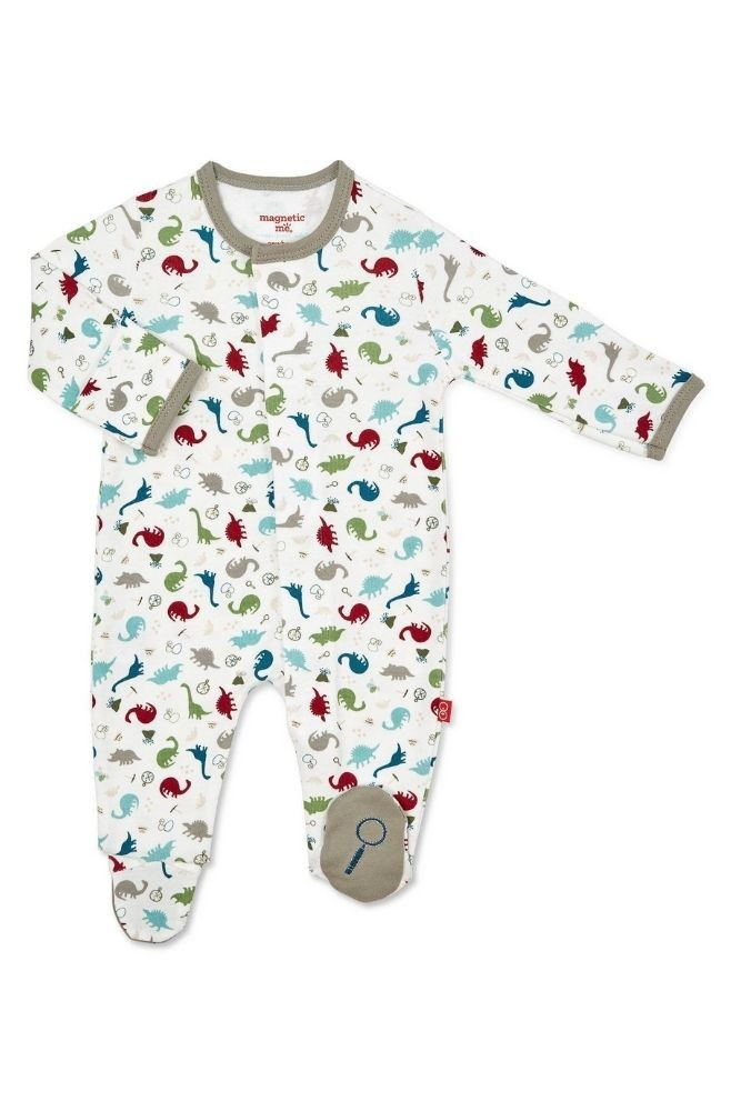 Magnetic Me™ 100% Organic Cotton Magnetic Baby Footie (Dino Expedition)