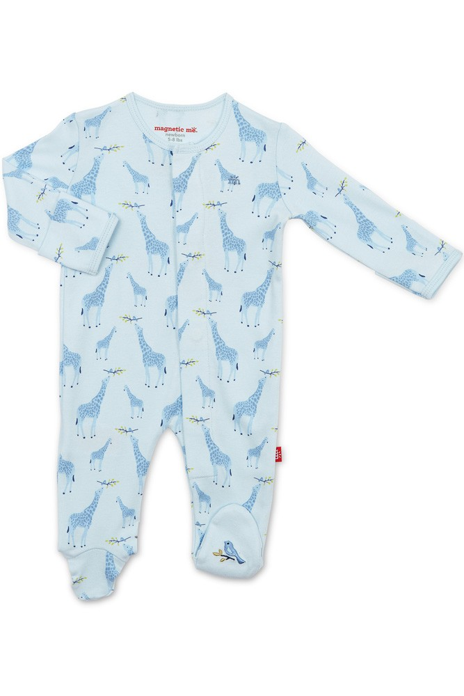 Magnetic Me™ 100% Organic Cotton Magnetic Baby Footie (Blue Jolie Giraffe)
