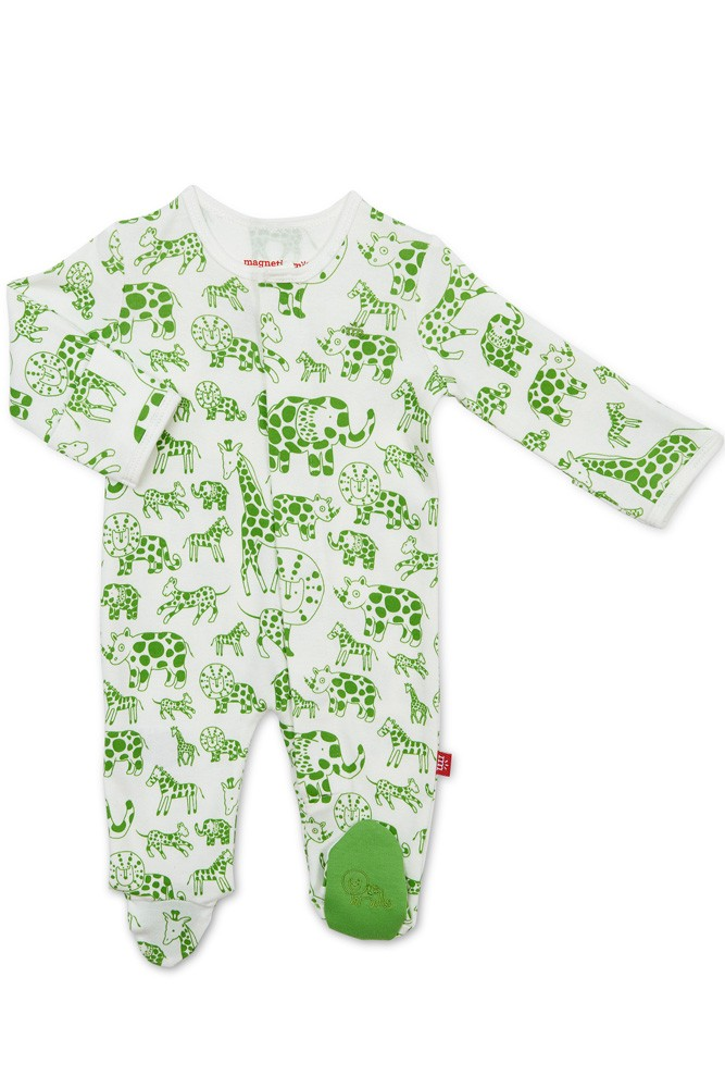 Magnetic Me™ 100% Organic Cotton Magnetic Baby Footie (Green Avant Gardimals)