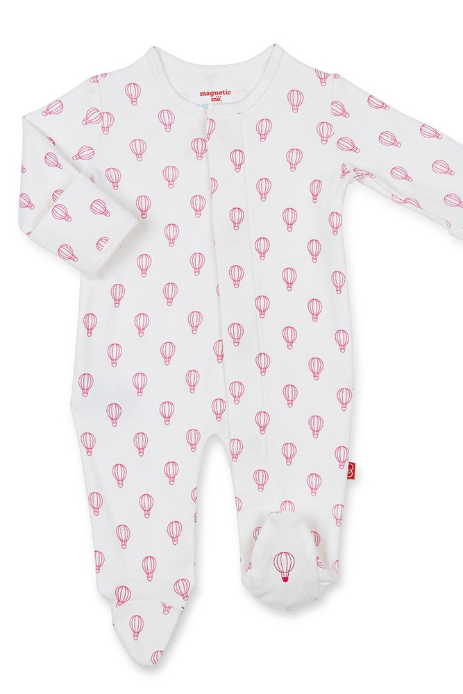 Magnificent Baby Girl Magnetic Me™ Organic Cotton Pink Open Sky Footie (Pink Open Sky)