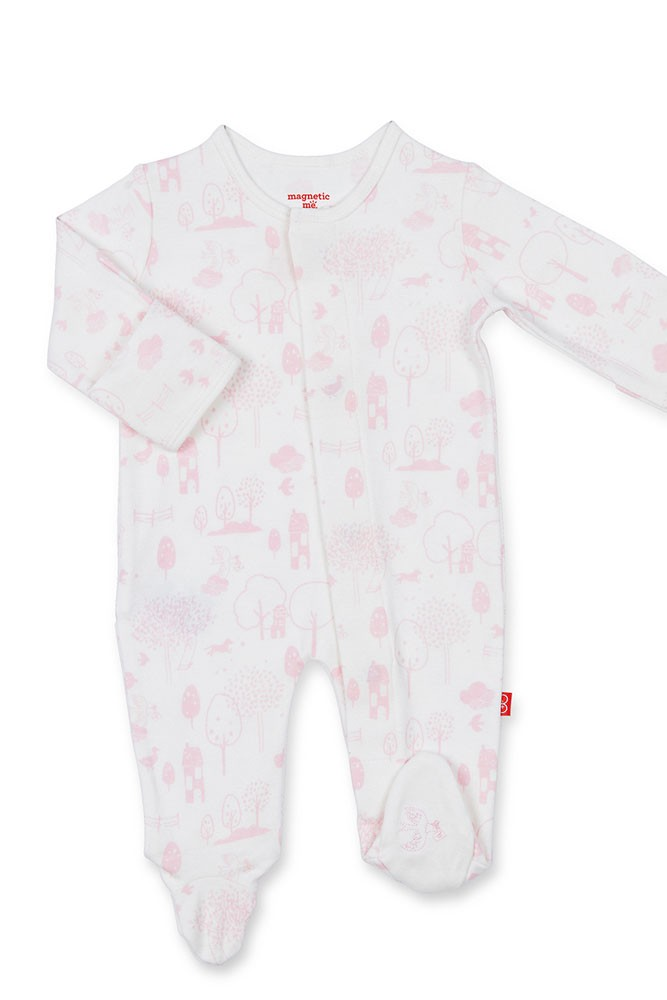 Magnificent Baby Girl Magnetic Me™ Organic Cotton Footie (Pink Perfect Day)