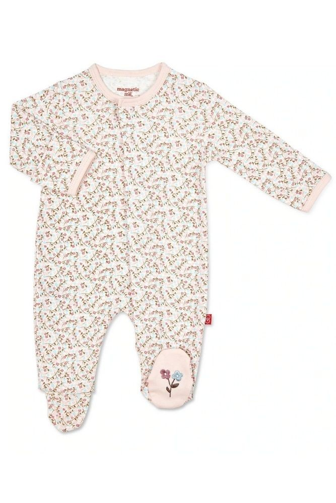 Magnetic Me™ 100% Organic Cotton Magnetic Baby Footie (Bedford Floral)