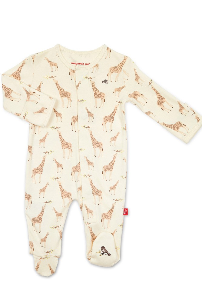 Magnetic Me™ 100% Organic Cotton Magnetic Baby Footie (Cream Jolie Giraffe)