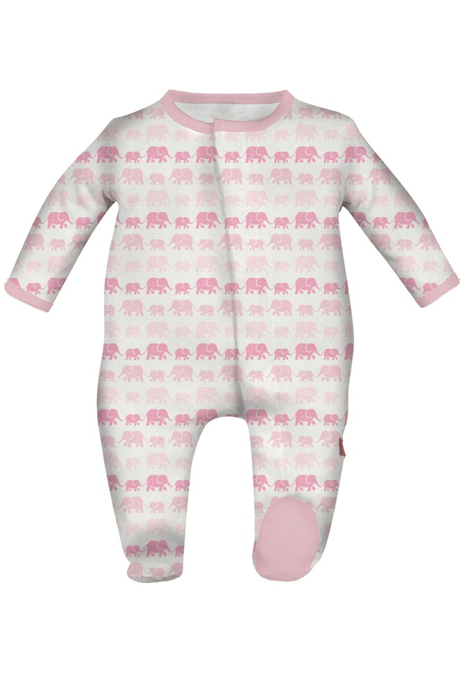 Magnificent Baby Magnetic Me™ Baby Girl Modal Dancing Elephants Footie (Pink Dancing Elephants)