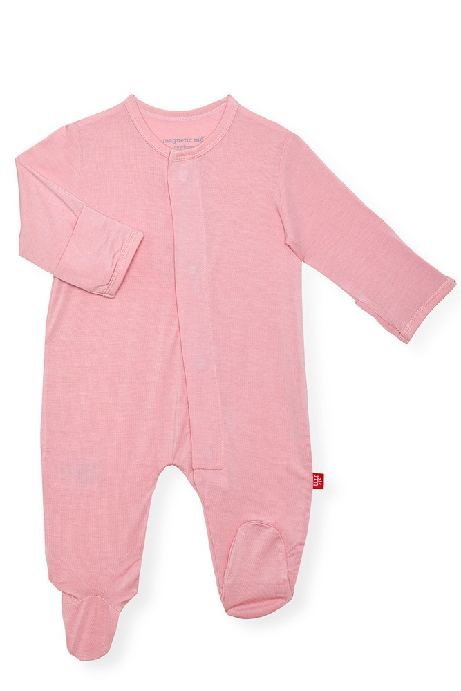 Magnetic Me™ Modal Magnetic Baby Footie (Solid Dusty Rose)